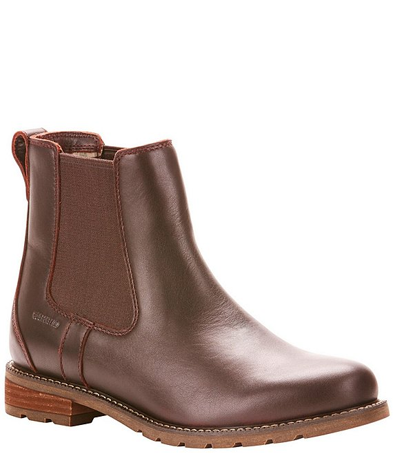 Color:Cordovan - Image 1 - Wexford Waterproof Leather Block Heel Chelsea Booties