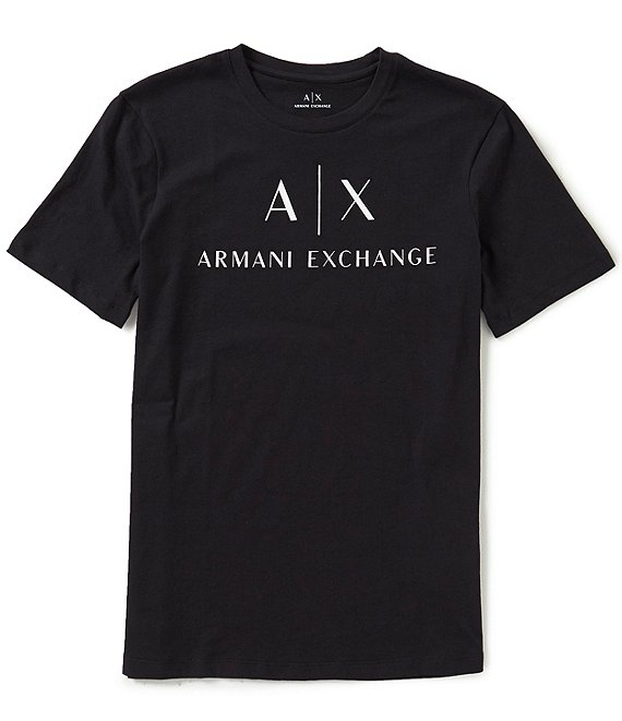 7dbdd331265 Armani Exchange AX Signature Logo Crew Neck Short-Sleeve Graphic Tee