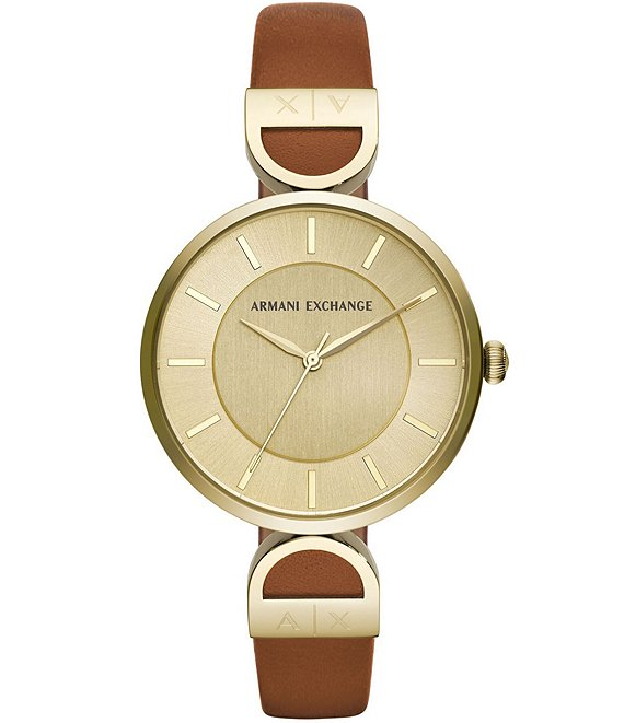 Color:Brown - Image 1 - Brooke Brown Leather Strap Watch