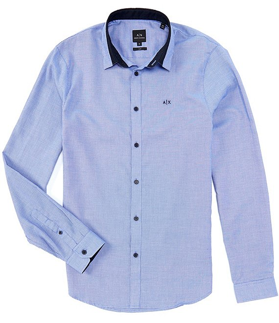 Armani Exchange Slim-Fit Tipped Collar Dobby Long-Sleeve Woven Shirt