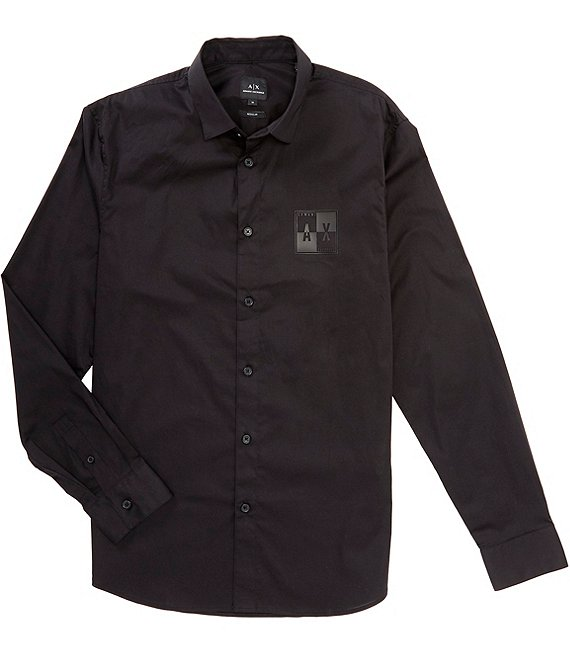 Armani Exchange Square Chest Logo Long-Sleeve Woven Shirt
