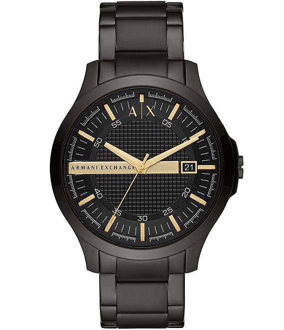Color:Black - Image 1 - Three-Hand Black Stainless Steel Bracelet Watch