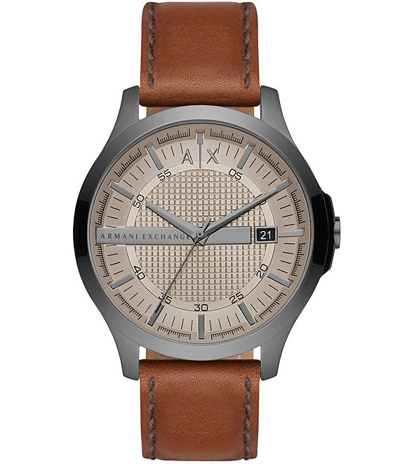 Color:Brown - Image 1 - Three-Hand Grey Dial Brown Leather Watch