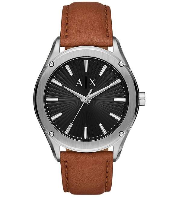 Color:Brown - Image 1 - Three-Hand Textured Black Dial Brown Leather Watch