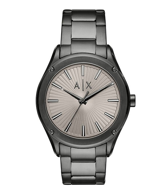 Color:Gunmetal - Image 1 - Three-Hand Textured Grey Dial Gunmetal Stainless Steel Watch