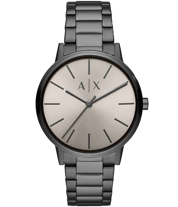 Color:Gunmetal - Image 1 - Three-Hand Grey Dial Gunmetal Stainless Steel Watch