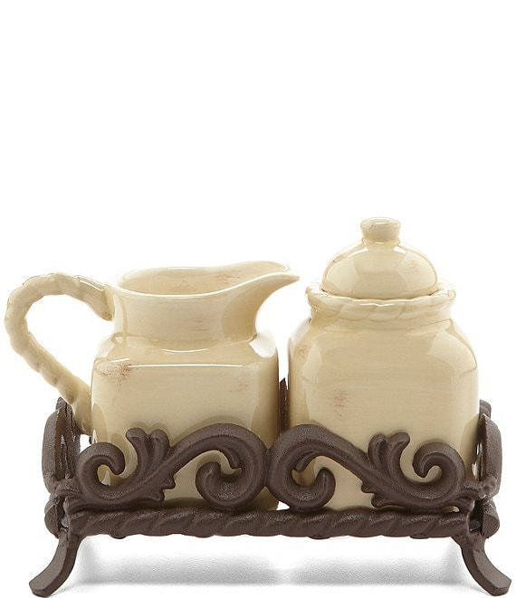 Artimino Tuscan Countryside Sugar & Creamer Set with Metal Base