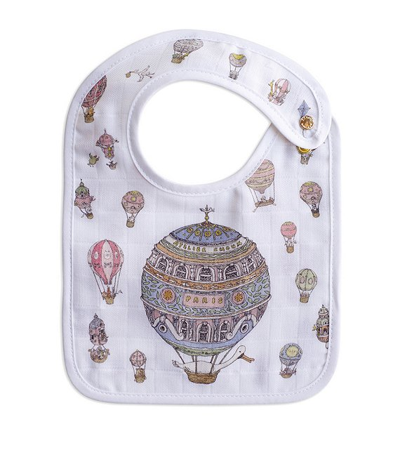Color:Multi - Image 1 - Organic Cotton Baby Hot Air Balloon Small Bib