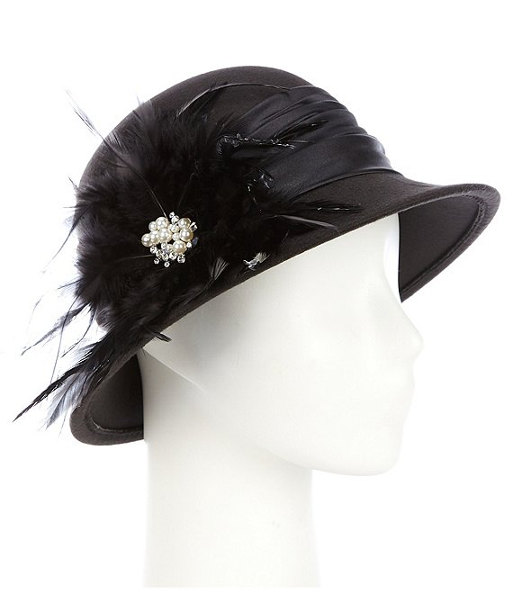 August Hats Feather Cloche Hat