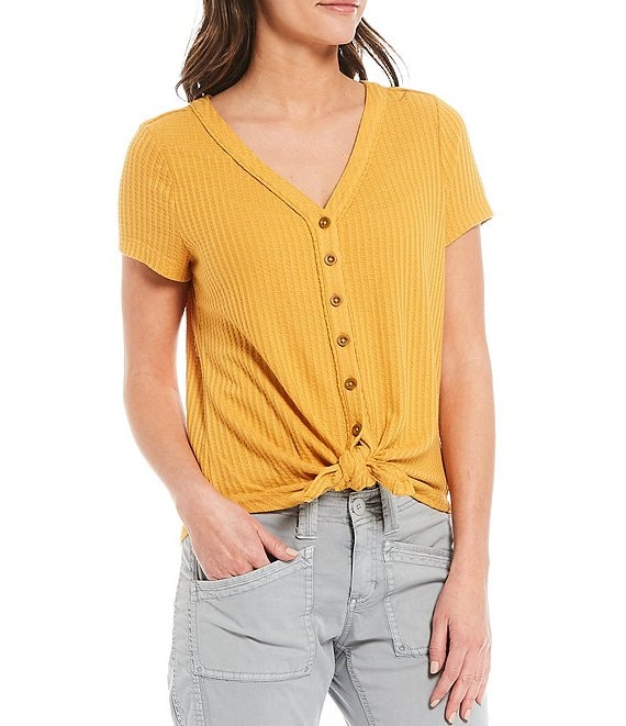 Color:Golden Apricot - Image 1 - Ayla V-Neck Short Sleeve Waffle Knit Button-Tie Front Tee
