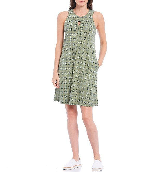 Color:Matte Green - Image 1 - Lenz Round Keyhole Neck Sleeveless Organic Cotton Blend Jersey Shift Dress