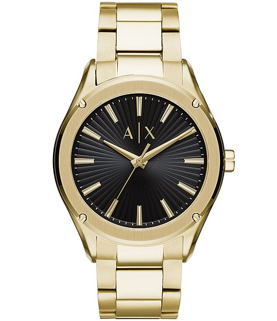 Color:Gold - Image 1 - A/X Armani Exchange Men's Fitz Three-Hand Gold-Tone Stainless Steel Watch