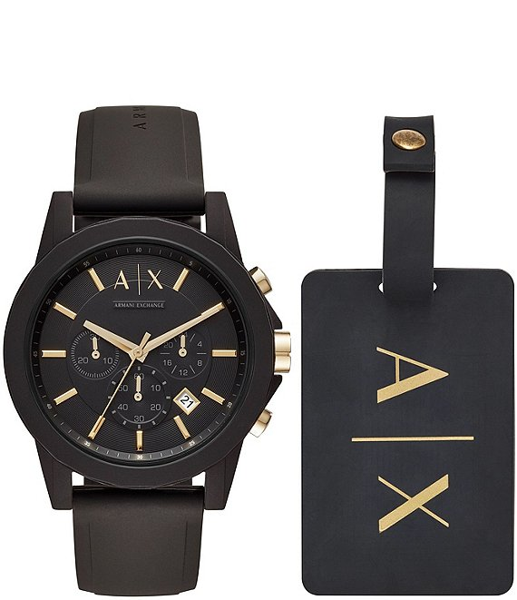 Color:Black - Image 1 - AX Armani Exchange Watch & Luggage Tag Gift Set