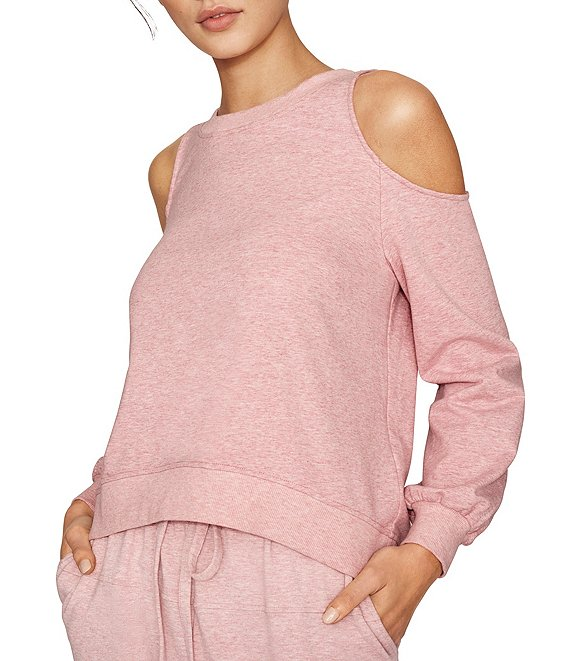 Color:Cabaret Heather - Image 1 - Recycled Knit Cut Out Cold Shoulder Jewel Neck Top