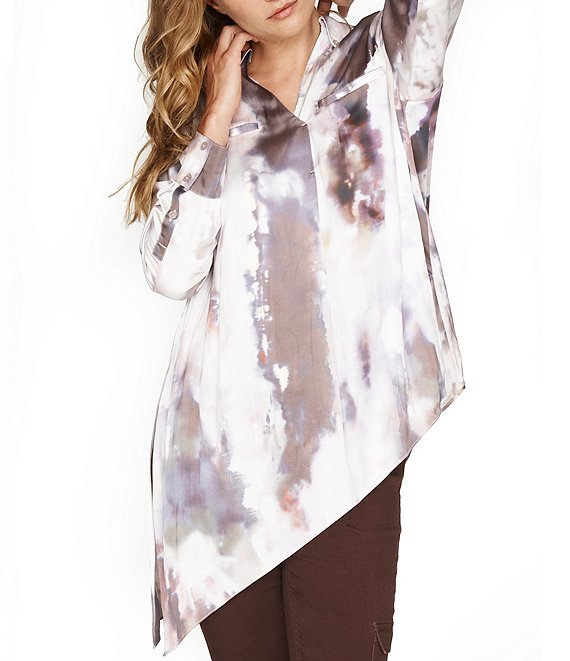 Color:Stormy Waters Natural - Image 1 - Stormy Waters Abstract Print Asymmetric Side Slit Hem Tunic