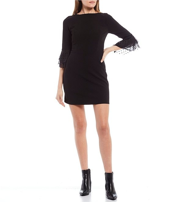 Color:Black/Black - Image 1 - 3/4 Mesh Bell Sleeve Sheath Dress