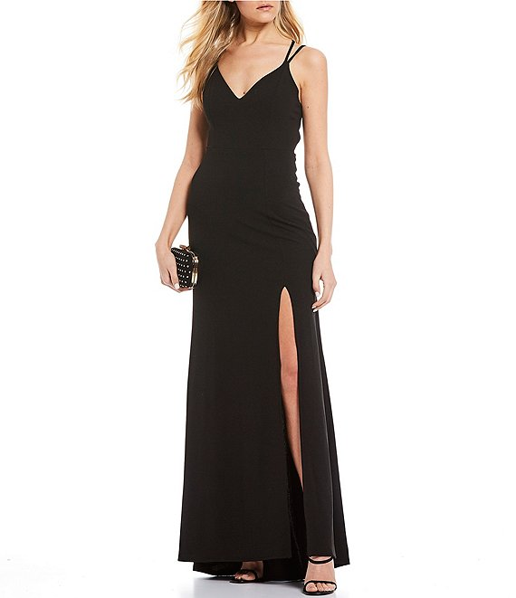 Color:Black - Image 1 - Double Spaghetti Strap Lace-Up Back High Side Slit Long Dress
