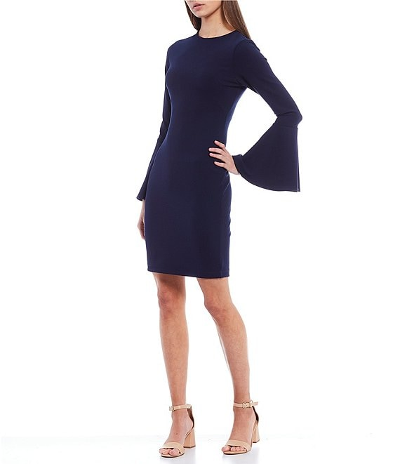 Color:Navy - Image 1 - Juliet Long Sleeve Sheath Dress