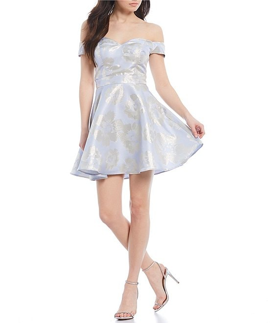 Color:Silver/Periwinkle/Off White - Image 1 - Off-The-Shoulder Floral Jacquard Fit and Flare Dress