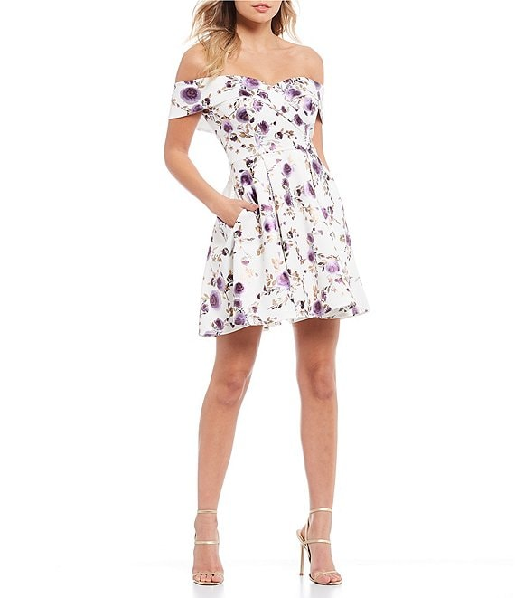 B Darlin Off The Shoulder Foil Floral Fit And Flare Dress