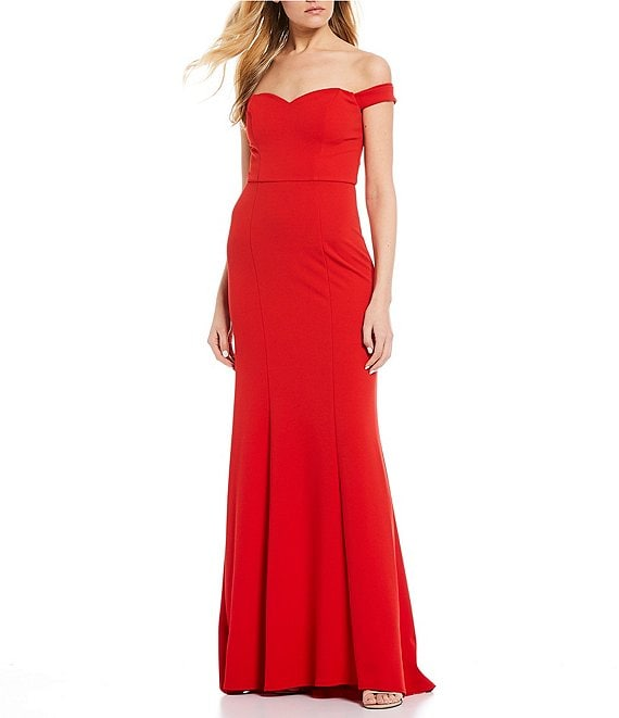 Color:Bright Red - Image 1 - Off-The-Shoulder Long Dress