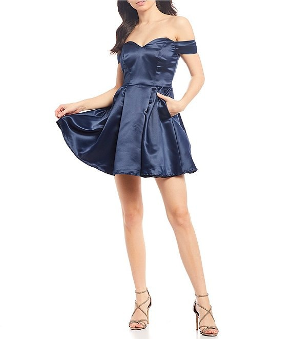 B. Darlin Off-the-Shoulder Satin Fit-and-Flare Dress
