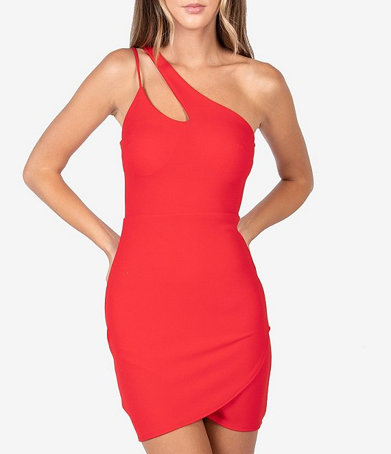 Color:Bright Red - Image 1 - One-Shoulder Strappy Asymmetric Bodycon Dress