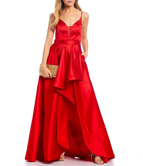 Color:Red - Image 1 - Spaghetti Strap Asymmetric High-Low Satin Ballgown