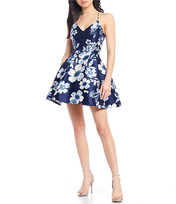 Color:Navy/Off White - Image 1 - Spaghetti Strap Bra-Back Floral Print Satin Fit-and-Flare Dress