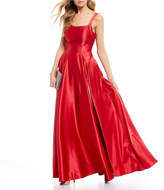 Color:Red - Image 1 - Square-Neck Satin Bar-Back High Side Slit Long Dress