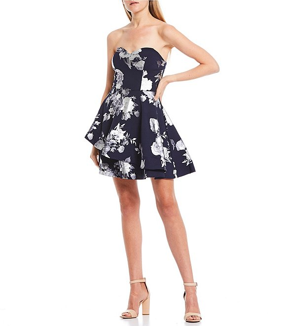 Color:Navy/Silver - Image 1 - Strapless Foiled Floral Double Hem Dress