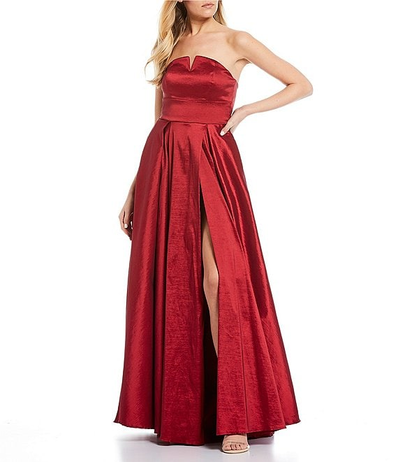 Color:Ruby Red - Image 1 - Strapless High Side Slit Taffeta Ballgown