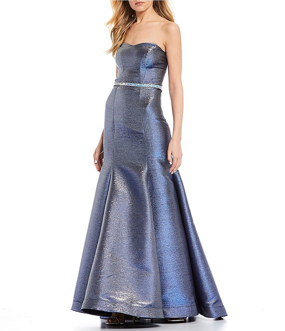Color:Royal/Silver - Image 1 - Strapless Shimmer Shine Trumpet Dress