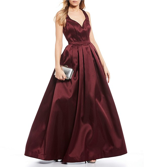 Color:Wine - Image 1 - Tank Satin Ballgown
