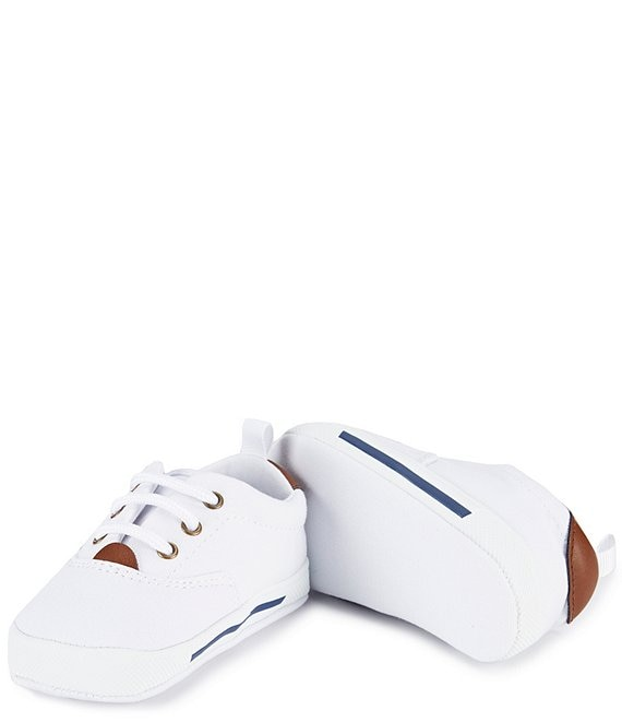 Color:White - Image 1 - Canvas Lace-Up Crib Shoe Sneakers