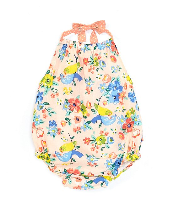 Baby Starters Baby Girls Newborn-24 Months Ruffle-Back Floral-Printed Bodysuit