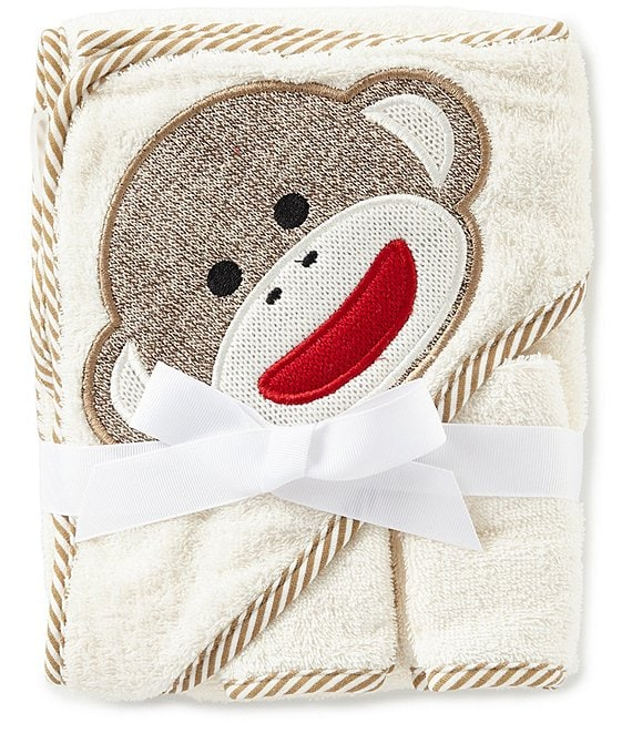 Baby Starters Baby Sock Monkey Appliqued Hooded Terrycloth Towel & Washcloth Set