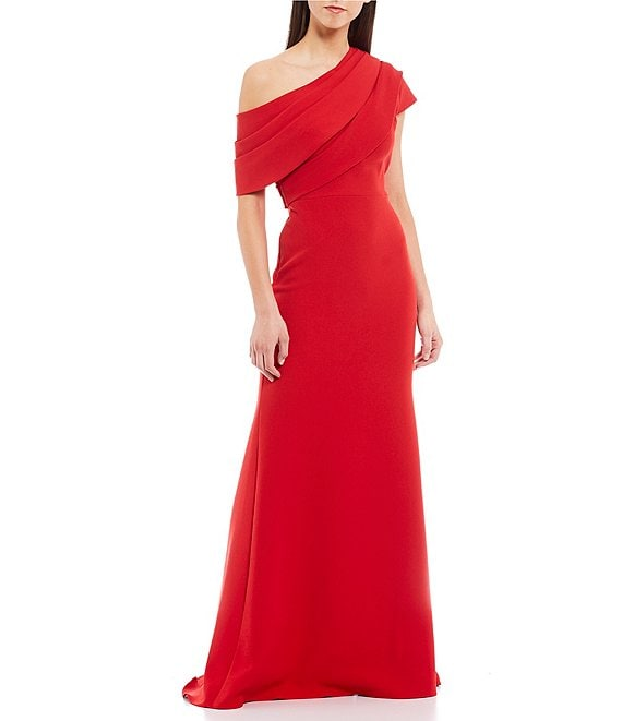 Color:Sriracha - Image 1 - Asymmetrical Off-The-Shoulder Boat Neck Butter Crepe Gown