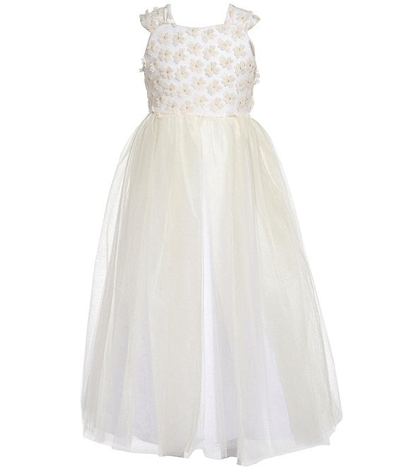 Color:Ivory - Image 1 - Big Girls 7-16 3D Floral/Tulle Fit & Flare Dress