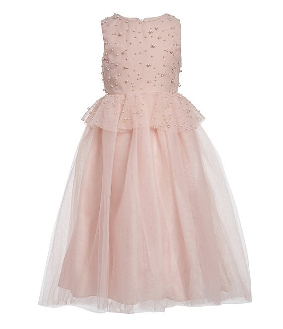 Color:Blush - Image 1 - Big Girls 7-16 Faux-Pearl Peplum Ball Gown