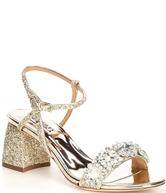 Color:Bright Gold Glitter - Image 1 - Danielle Glitter Pearl Jewel Embellished Dress Sandals