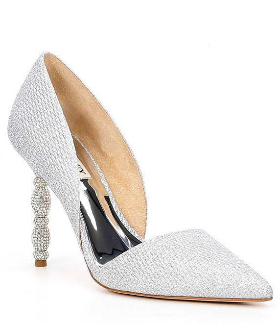 Color:Silver - Image 1 - Emily Crystal Embellished d'Orsay Pumps