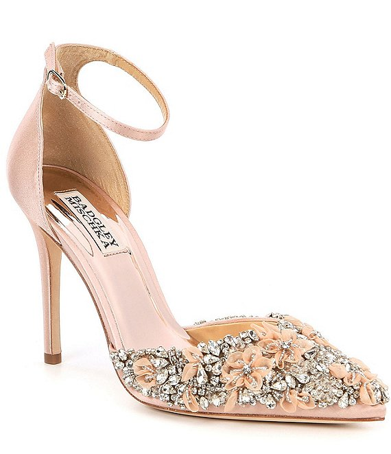 Color:Soft Blush - Image 1 - Fey d'Orsay Ankle Strap Dress Pumps