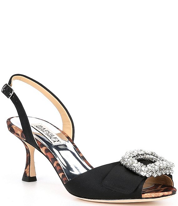 Color:Black - Image 1 - Gaela Satin Embellished Brooch Slingback Dress Sandals