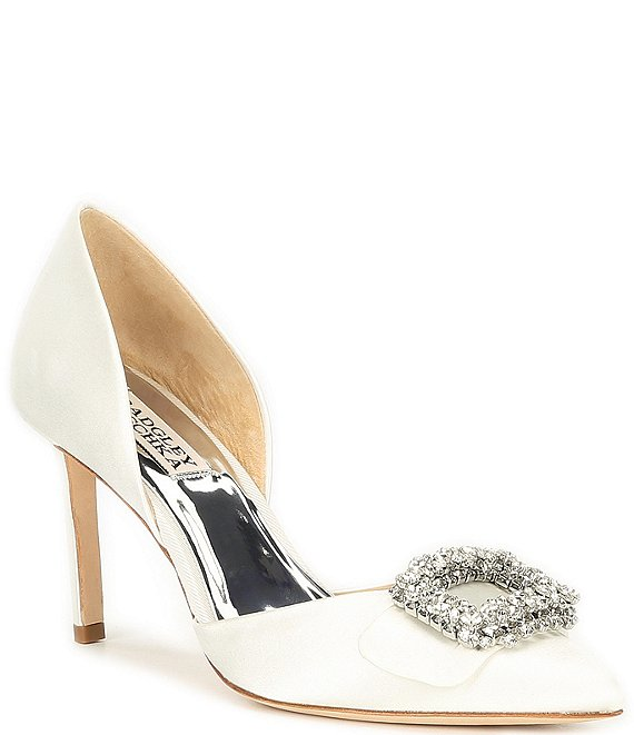 Color:White - Image 1 - Gaiana Satin Embellished Brooch D'Orsay Pumps
