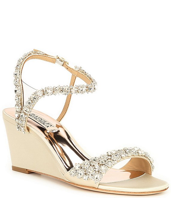 Color:Ivory - Image 1 - Gali Satin Jeweled Dress Wedge Sandals