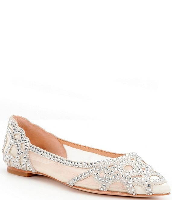 Color:Ivory - Image 1 - Gigi Rhinestone-Embellished Pointed-Toe Flats