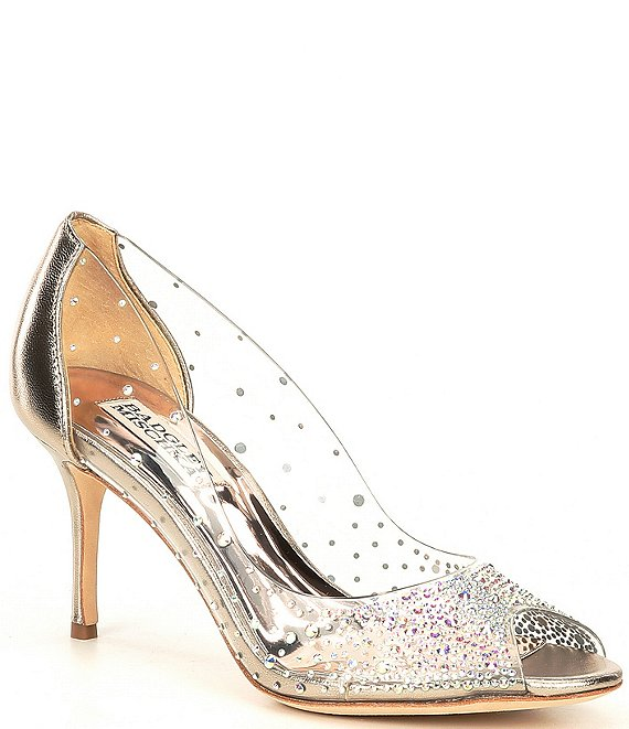 Color:Champagne Metallic - Image 1 - Ginata Clear Leather Peep Toe Pumps