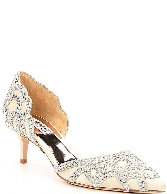 cc2c68ad479 Badgley Mischka Ginny Satin And Suede Jeweled d Orsay Pumps