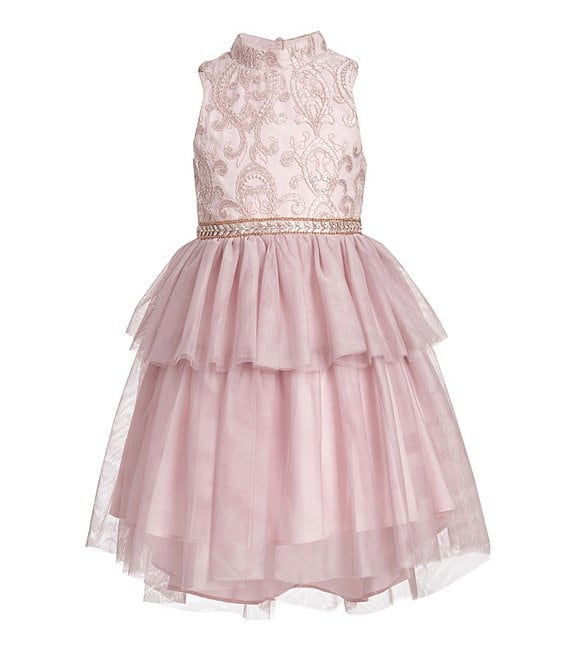 Color:Blush - Image 1 - Little Girls 4-6X Embroidered/Tiered Fit & Flare Dress
